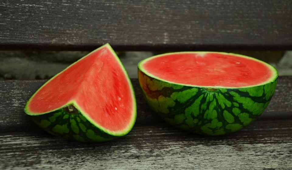 Image of two freshly sliced watermelons